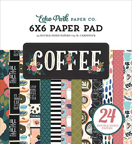 Echo Park Paper Company CO164023 Coffee 6x6 Pad Paper, 6-x-6-Inch, Pink/Green/Red/Navy/Blue/Teal/Black -