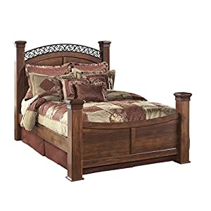 Ashley Timberline Queen Poster Bed In Warm Brown