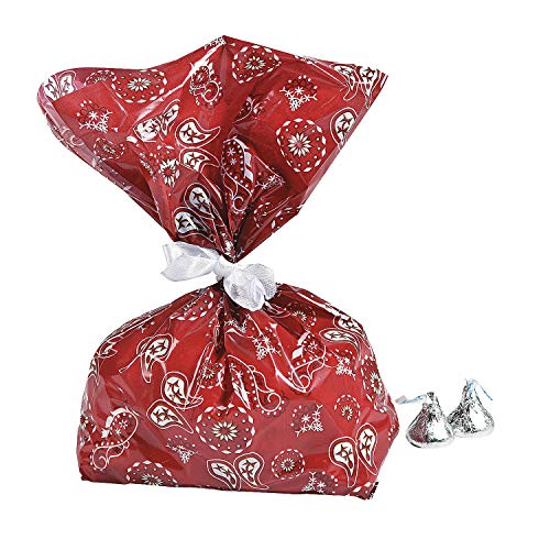Fun Express Red Western Bandana Cellophane Party Treat Bags - 12 Piece Pack -