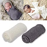 Outgeek 2PCS Baby Photo Prop Cotton Elastic Baby Swaddle Wrap Photography Wrap