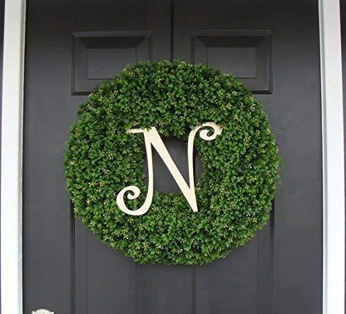Wedding Wreath 16-24 INCH Available Fall Monogram Wreath with Burlap Bow Monogram Boxwood Wreath Housewarming Gift