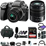 Panasonic LUMIX G7 Interchangeable Lens Camera (Silver) w/ 14-42mm & 45-150mm Lens & 64GB Accessory Bundle
