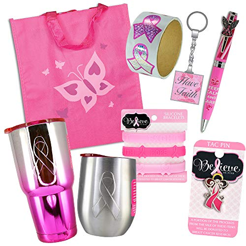 Pink Ribbon Items (Pink Ribbon Breast Cancer Awareness Month Gift Bundle (8-Piece)