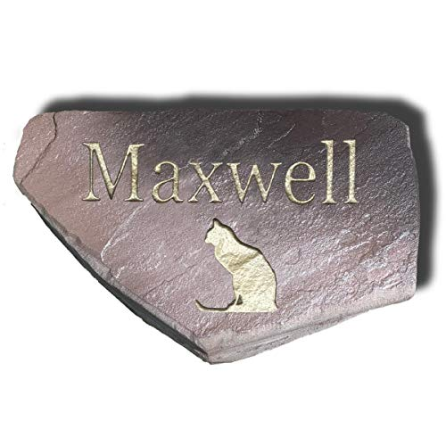 Memorial Garden Markers - Personalized Cat Memorial Stone | Custom Engraved Natural Stone | Grave Marker, Garden Stone, Desk or Shelf, Indoor or Outdoor | Color - Dark Chocolate with Gold