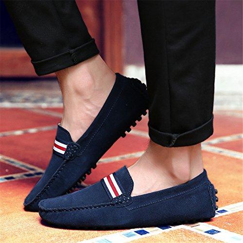 2 Oscuro Hombre Zapatos Loafer de para Mocasines Casual DUORO Planos Piel Azul qfPwXvtX