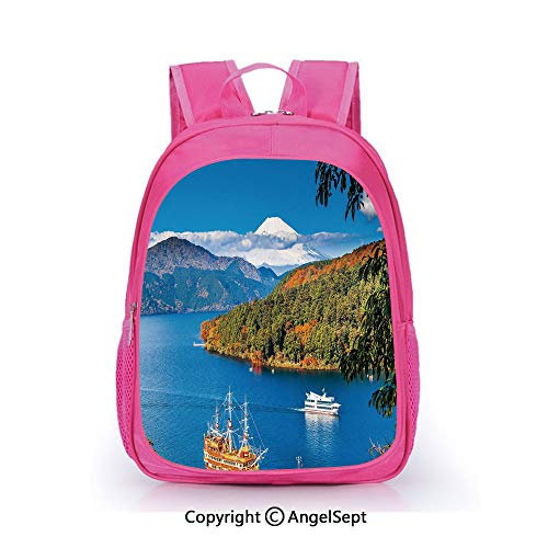 - Hot Sale Backpack Casual Daypack,Lake Ashi Mount Fuji Japan Town Hakone Travel Touristic Destination Decorative Green Blue Orange,15.7inch,Travel Outdoor Backpack For Boys And Girls