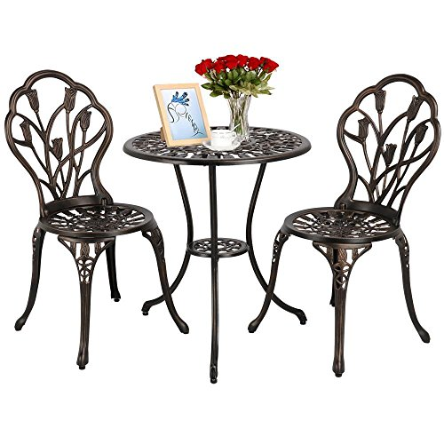 - Yaheetech 3 PCS Patio Set Tulip Design Setting Cast Bistro Table Chair Outdoor Patio Furniture, Aluminum, Antique Bronze