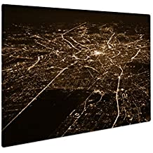 Ashley Giclee Aerial View Of Moscow At Night, Wall Art Photo Print On Metal Panel, Sepia, 16x20, Floating Frame, AG5576839