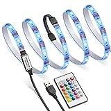 AMIR LED TV Backlight Kit, RGB Light Strip Kit Bias Lighting with Remote Control, USB LED Strip Lights for 40-60 Inch HDTV, Monitor PC, Car & More (4pcsx50cm, 16 Colors & 4 Modes)