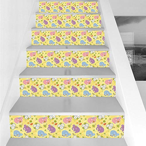 Stair Stickers Wall Stickers,6 PCS Self-adhesive,Elephant,Blossoming Cartoon Flowers and Animal Mascots Balloons Bow Ties Playful Clip Art,Multicolor,Stair Riser Decal for Living Room, Hall, Kids Room