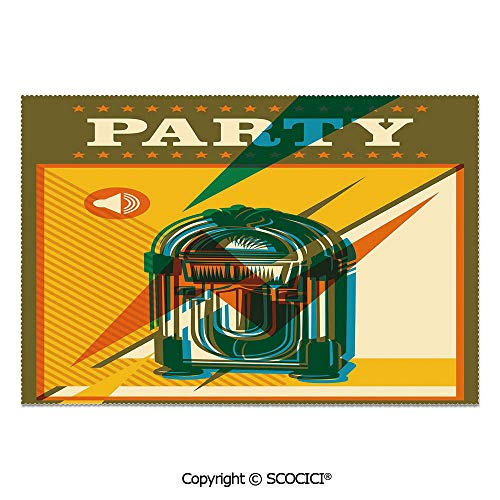 SCOCICI Place Mats Set of 6 Personalized Printed Non-Slip Table Mats Retro Print Party Themed Old Antique Music Radio Set for Dining Room Kitchen Table Decor]()