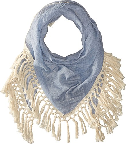 Boho-Chic Vacation & Fall Looks - Standard & Plus Size Styless - Steve Madden Women's Oversized Cotton Tassel Scarf, Denim, One Size