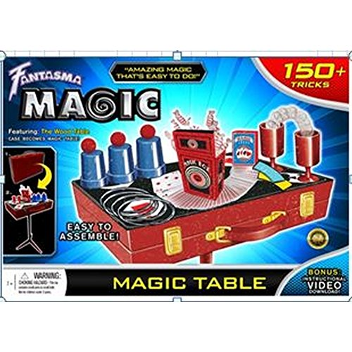 Fantasma Toys Retro Magic Table Set – Loaded with Props and Featuring 150 Magic Tricks – Includes Instructional Video Download and Book of Secrets – Ages 6 and ()