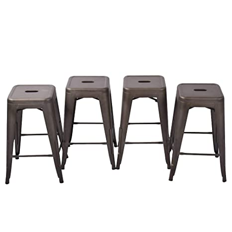 Astounding Haobo Home 24 Backless Metal Counter Stool Height Bar Stools Set Of 4 For Indoor Outdoor Barstools Bronze Pdpeps Interior Chair Design Pdpepsorg
