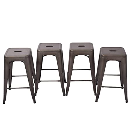 HAOBO Home 24 Backless Metal Counter Stool Height Bar Stools Set of 4 for Indoor Outdoor Barstools, Bronze