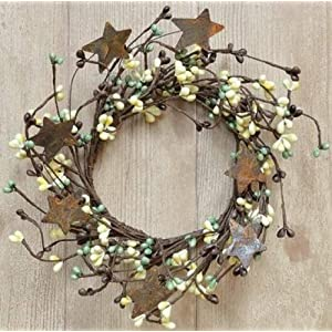 Coffee Bean Pip Berry Ring With Rusty Stars Chocolate Brown Beige Green Berries Country Primitive Floral Décor 92