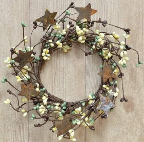 - Coffee Bean Pip Berry Ring With Rusty Stars Chocolate Brown Beige Green Berries Country Primitive Floral Décor