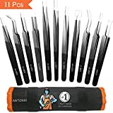 Craft Tweezers, Antonki 11 Pcs Esd Safe Long Stainless Steel Precision Tweezers Set for Electronics soldering, Watch, Jewelry, Hobby Crafts, Eyelash Extensions, Ingrown Hair - With Roll Case