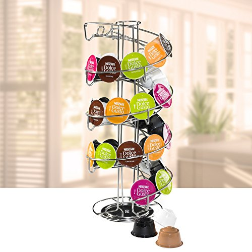 Amazon.com: AMOS Revolving Rotating Spiral Coffee Pod Holder Stand Tower Dolce Gusto Nespresso Tassimo Capsule Storage Organiser Stainless Steel Rack ...
