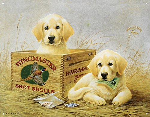 Tin Sign Shell (Wingmaster Shot Shells Hunting Dogs Tin Sign 13 x 16in)