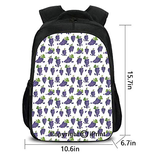 Laptop Computer Backpack,Cute Fruit Icons Patterned Juicy Organic Yummy Cottage Sweet Design,School Bag :Suitable for Men and Women,School,Travel,Daily use,etc.Purple Green