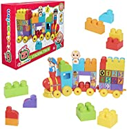 Just Play CoComelon Stacking Train, 40 Piece Large Building Block Set Includes JJ and Tomtom Figures, Color an