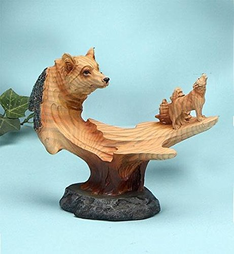 6.5 Inch Wolf and Baby in The Wild Faux Wood Bust Scene Figurine