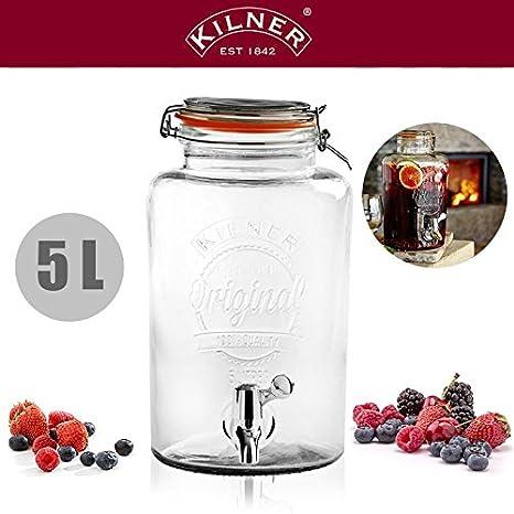 Kilner® Dispensador de bebidas, ideal para verano de y jardín Fiestas 5 l - 80 unidades=1 Euro de palé: Amazon.es: Hogar