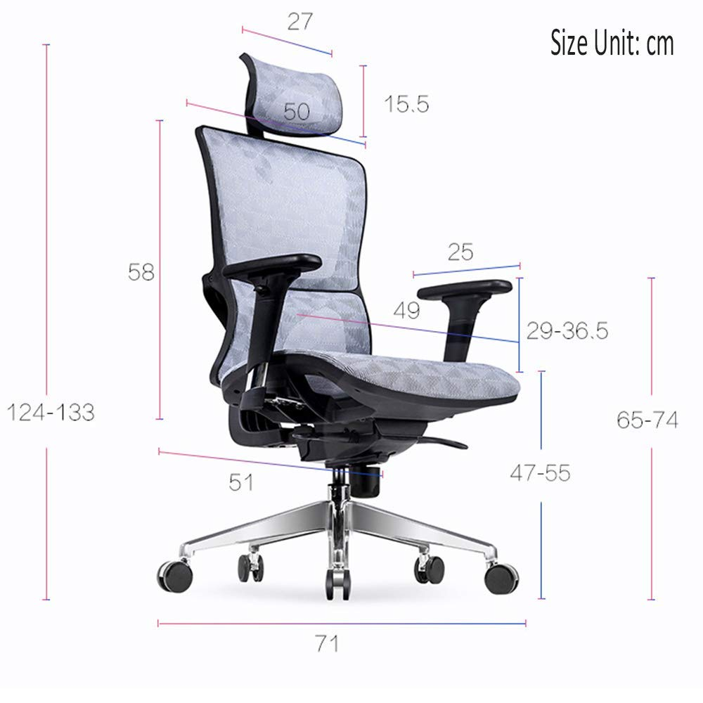 JIEER-C stol nät hög rygg svängbar kontorsstol modern enkelhet multifunktionell räcke robust stödram andningsbar nät bärande vikt 250 kg 4 färger (färg: Vit grå) Svart
