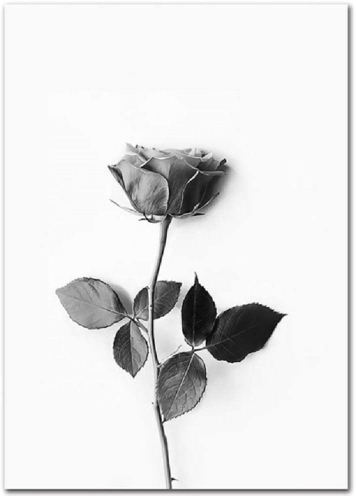 SCLPOSTER Moda Blanco y Negro Hojas inglés Flor Caballo decoración Pintura Arte Modular Lienzo póster Cuadros de Pared para Sala de Estar m 40x50 cm