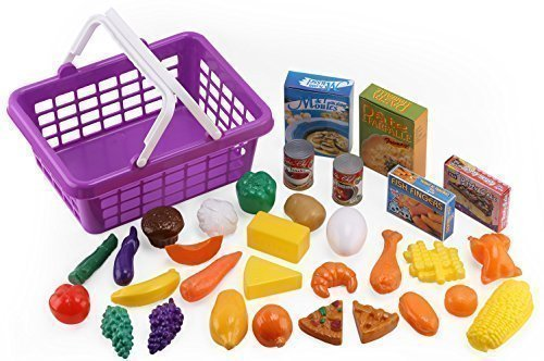 Food Plastic Fake (Click n' Play 33 Pc. Kids Pretend Play Grocery Shopping Play Toy Food Set, Fruit and Vegetable with Shopping Basket)