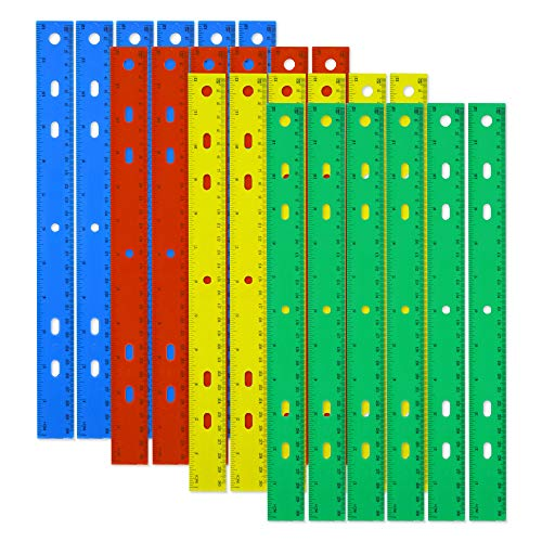 - Trail maker Packs of Plastic 12 Inch Rulers in Bulk Wholesale Set in 4 Assorted Colors for School Classrooms, Teachers, and Parents (24 Pack)