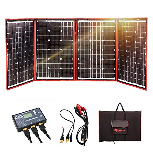 DOKIO 220 Watts 12 Volts Monocrystalline Foldable Solar Panel with Charge Controller ()