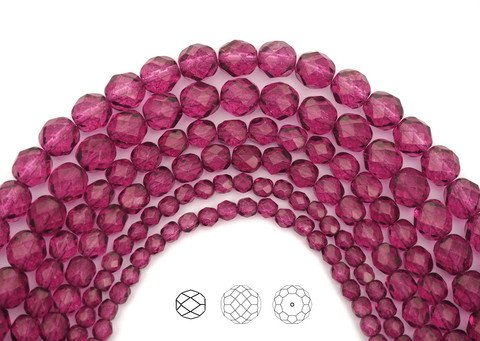 (6mm (68pcs) Crystal Pink Flare coated, Czech Fire Polished Round Faceted Glass Beads, 16 inch strand)