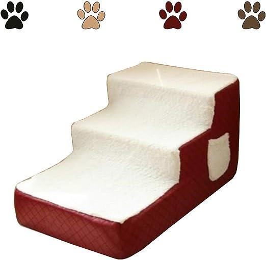 Escalera Mascota RZBAO De Tres Pisos De Escalera Perro De Mascota Pequeña Escalera Desmontable Y Lavable Limpieza Suave Conveniente Antideslizante Ligero (Color : Red, Size : 40x67x33cm): Amazon.es: Hogar