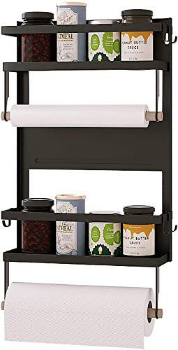 Magnetic Spice Rack For Refrigerator With 5 Hooks,Spice Storage For Fridge,Magnetic Shelf for Kitchen Organizer,Easy to Use,Drill free Black, Large