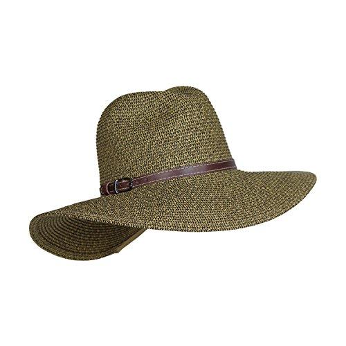 Packable Straw Safari Hat w/ Buckle Hatband, Wide Brim UV Sun Protection, Adjustable (Dark Natural)