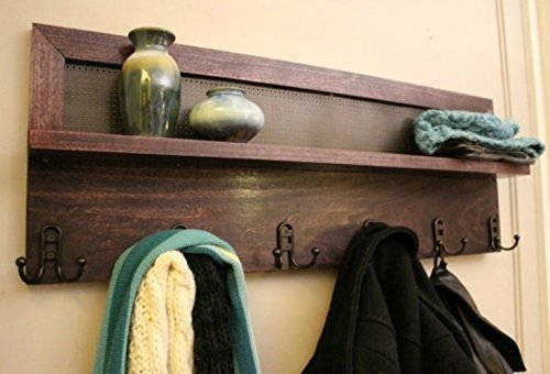 You Pick the Stain and Mesh Color 6 Hook, Stained Wall Mounted Coat Rack, Wall Organizer and Shelf