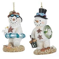 Beach Themed Christmas Ornaments Kurt Adler 3.75″ Resin Beach Snowman Ornament Pair beach themed christmas ornaments
