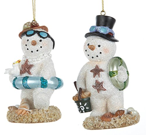 Mr and Mrs Beachy Snowman Christmas Holiday Ornaments Set of 2