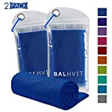 Balhvit 2 Pack Cooling Towel, Ice Towel, Microfiber Towel for Instant Cooling Relief, Cool Cold Towel for Yoga Beach Golf Travel Gym Sports Swimming Camping (Dark Blue, 32x12inch)