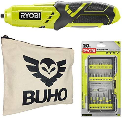 Ryobi Power Screwdriver Bundle, HP34L 4-Volt Lithium Screwdriver with Drill Bit Set and and Buho Zipper Pouch