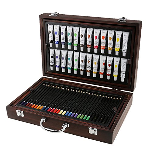 Jili Online 126Pieces Set Kids Drawing Painting Art Set Watercolor Pen Oil Pastel Paint Brush Tool Art School Supplies by Jili Online
