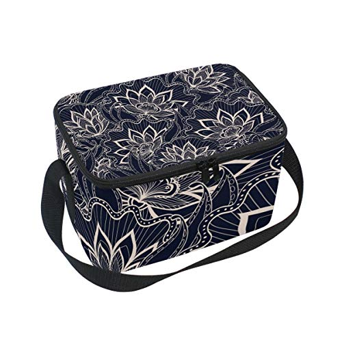 Insulated Lunch Bag Navy Dark Background Lotus Flowers Lunchbox Thermal Handbag Food Container Cooler Reusable Outdoors Travel Work School Strap Lunch Tote
