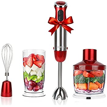 KOIOS Powerful 500-4-in-1 Hand Blender with 6 Speed - Red