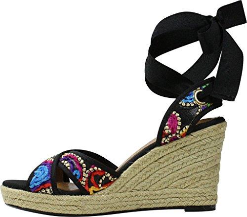 Floral Wedge J Fabric Black Sandal Bright Grosgrain Alysbeach Women's Multi Fiesta Renee qnqazBTtZ