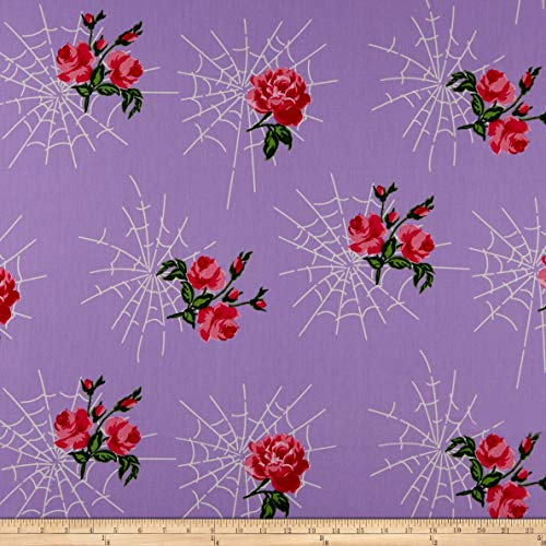 Michael Miller Gertie Charming Kiss of the Spider Woman Fabric, Lavender, Fabric By The Yard