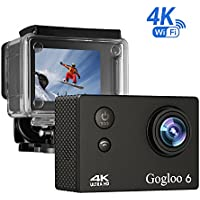 Gogloo Native 4K EIS Action Camera, Wifi Waterproof Sports Camera with 4K/2K/1080P60 fps Video, 12MP Photo and 170 Wide-Angle Lens, includes 10 Mountings Kit, 1 Batteries