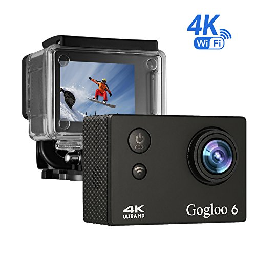 Gogloo Native 4K EIS Action Camera, Wifi Waterproof Sports Camera with 4K/2K/1080P60 fps Video, 12MP Photo and 170 Wide-Angle Lens, includes 10 Mountings Kit, 1 Batteries Action Cameras HITOP