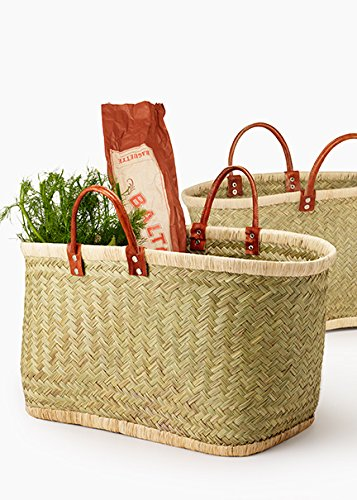 - Large Natural Straw and Raffia Bag with Leather Handles